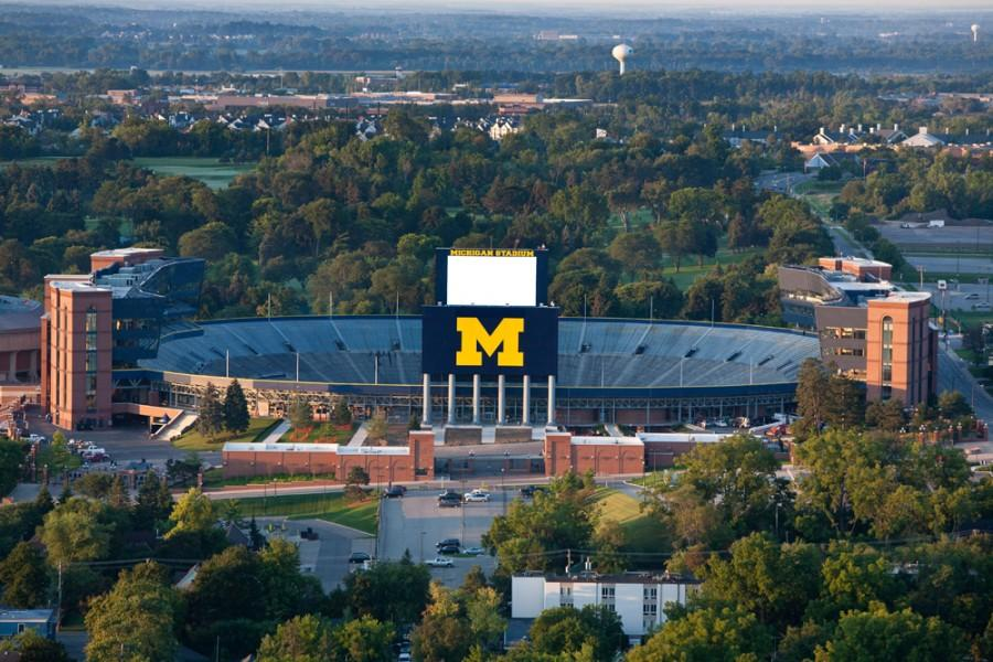 Aerials view of Michigan Stadium as the sun rises during a Day in the Life of the University of Michigan on August 23, 2011. Courtesy of UMich.edu.