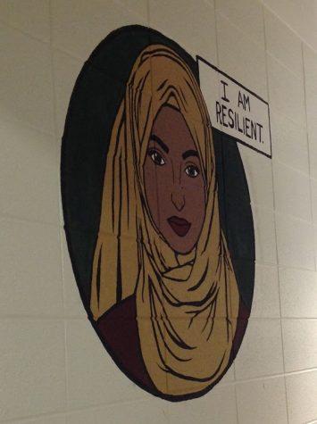 Bathroom mural of Muslim woman