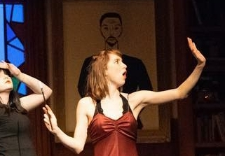 Katie as Miss Scarlet in the 2019 production of Clue. Photo credit: @chelsea.theatre on Instagram.